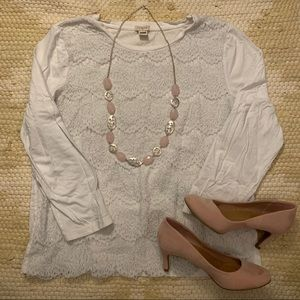 J. Crew Lace Front Tee 3/4 Sleeves